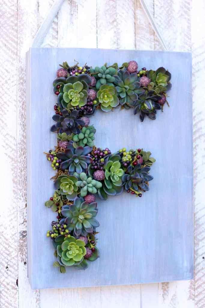 Monogram Faux Succulent Wreath Fynes Designs