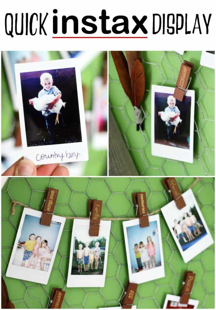 Point, shoot, and Clip up. Simply clip up instax instant photos on a string for a quick and easy photo gallery.