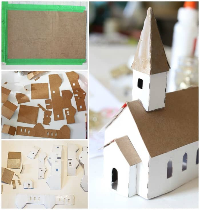 Assemble church pieces with hot glue. Paint with white school glue and sprinkle with glitter