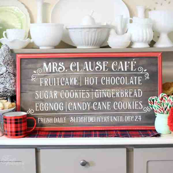 Free Silhouette cut file for Mrs. Clause Cafe Painted sign