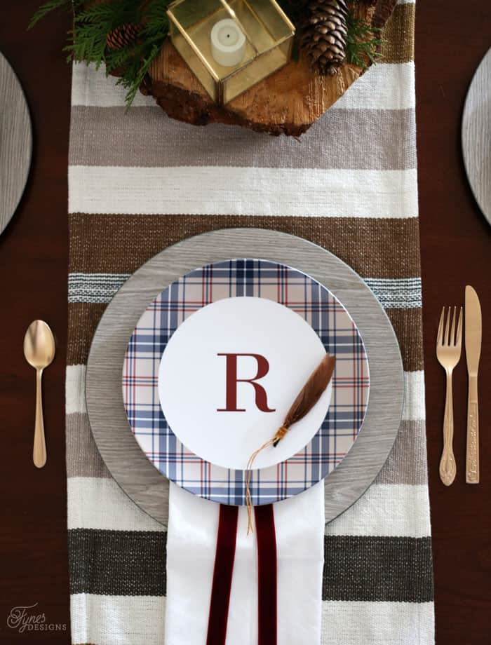 Holiday plaid custom monogram plates from Shutterfly