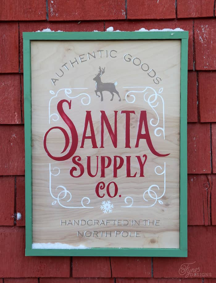 Free Christmas cut files featured by top US craft blog, Fynes Designs: Santa Supply Company sign
