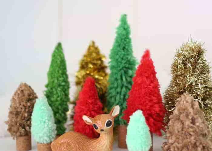 Easy DIY Christmas trees. Buy the DIY Bottle Brush Tree Kit at JoAnn and Hazel and Ruby