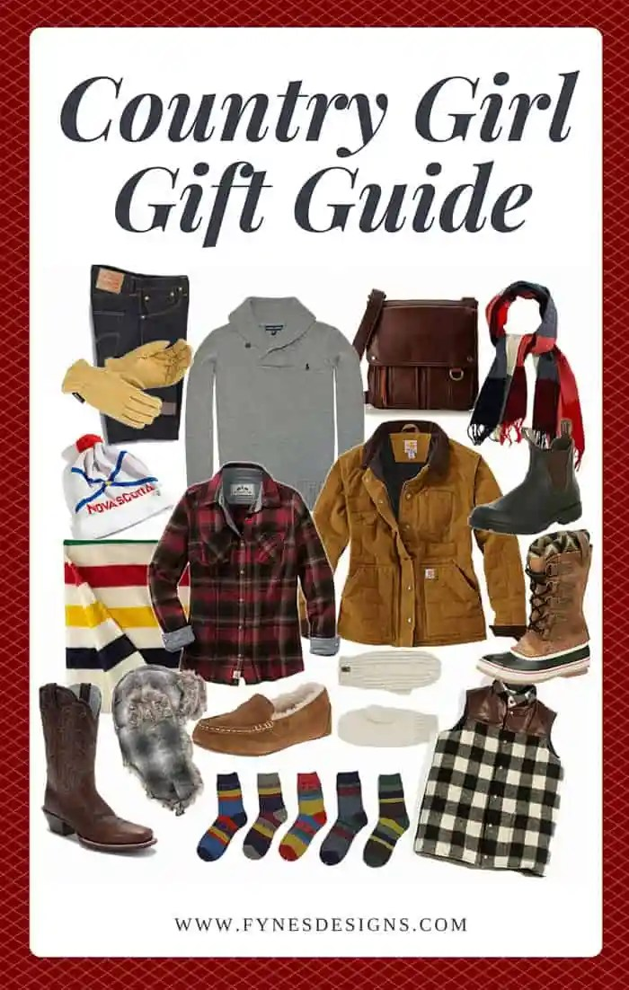 Keep warm and cozy with these hand picked country girl favorites | Craft Gifts by popular Canada lifestyle blog, Fynes Designs: Pinterest image of a Country Girl gift guide.
