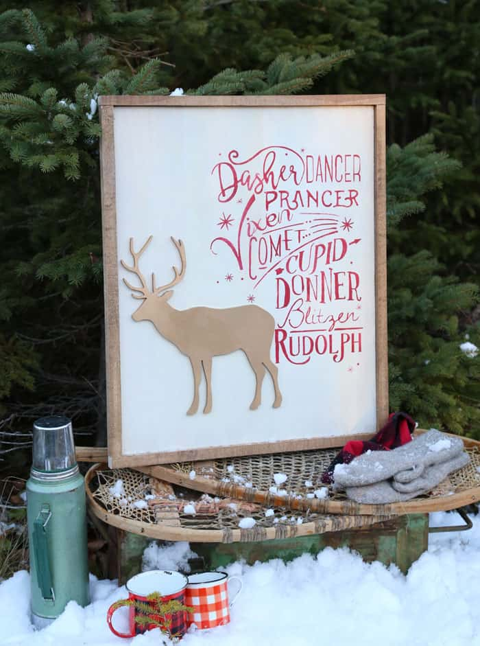 Free Reindeer names Silhouette Christmas Cut Files