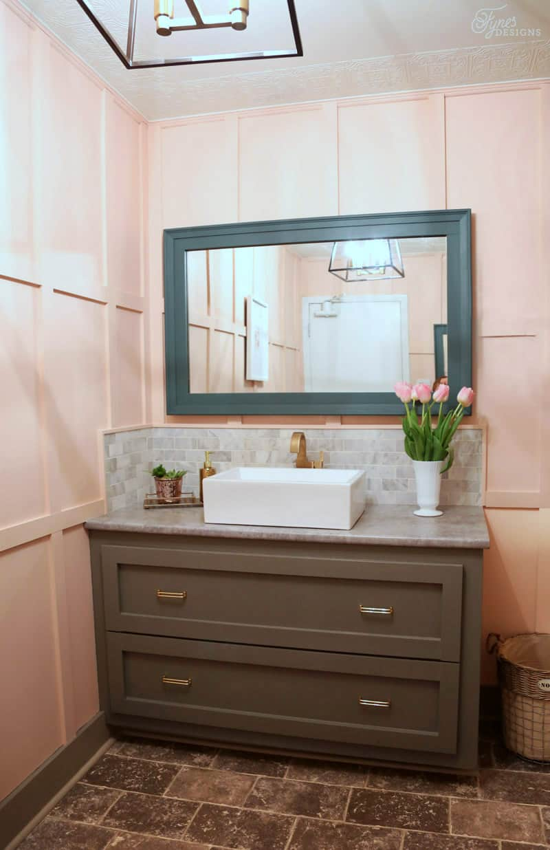 Ladies room bathroom makeover. Click to see the before, straight from the 90's