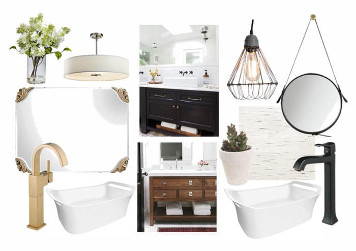 Restroom moodboard for a his and hers commercial space