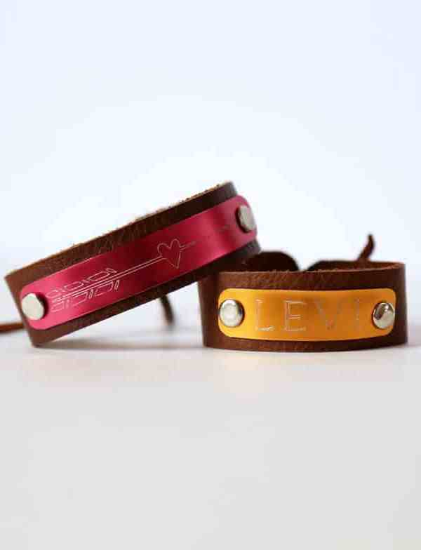 Etching metal with the Silhouette Curio. Leather and metal ID bracelets