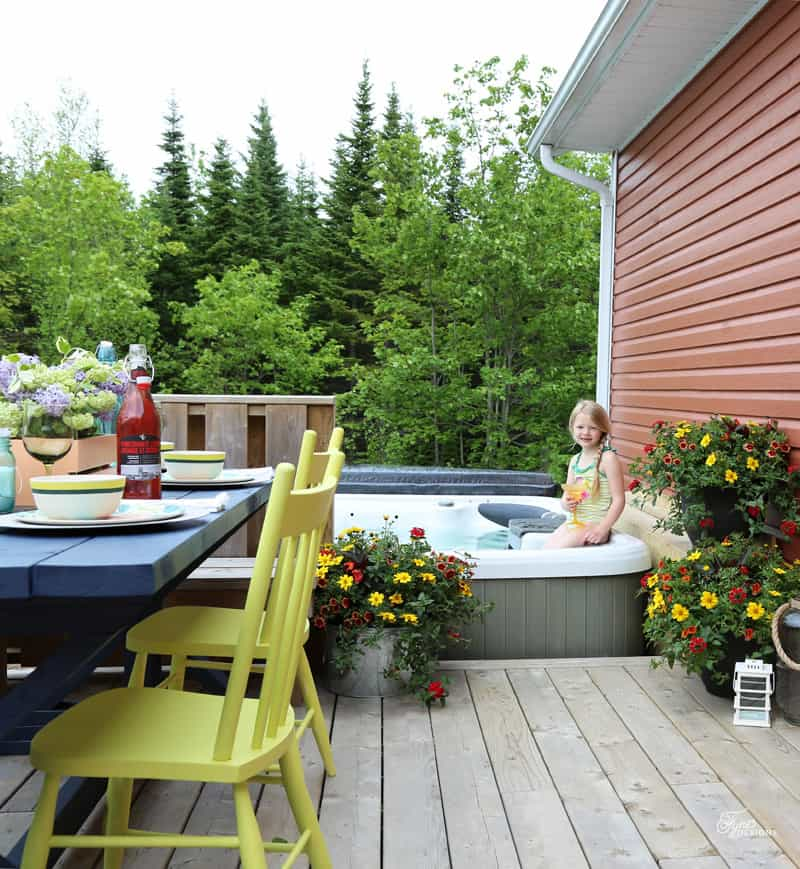 Mini Patio makeover just by adding a bit of color and flowers