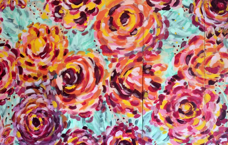 Handpainted flowers with PPG Voice of Color paints