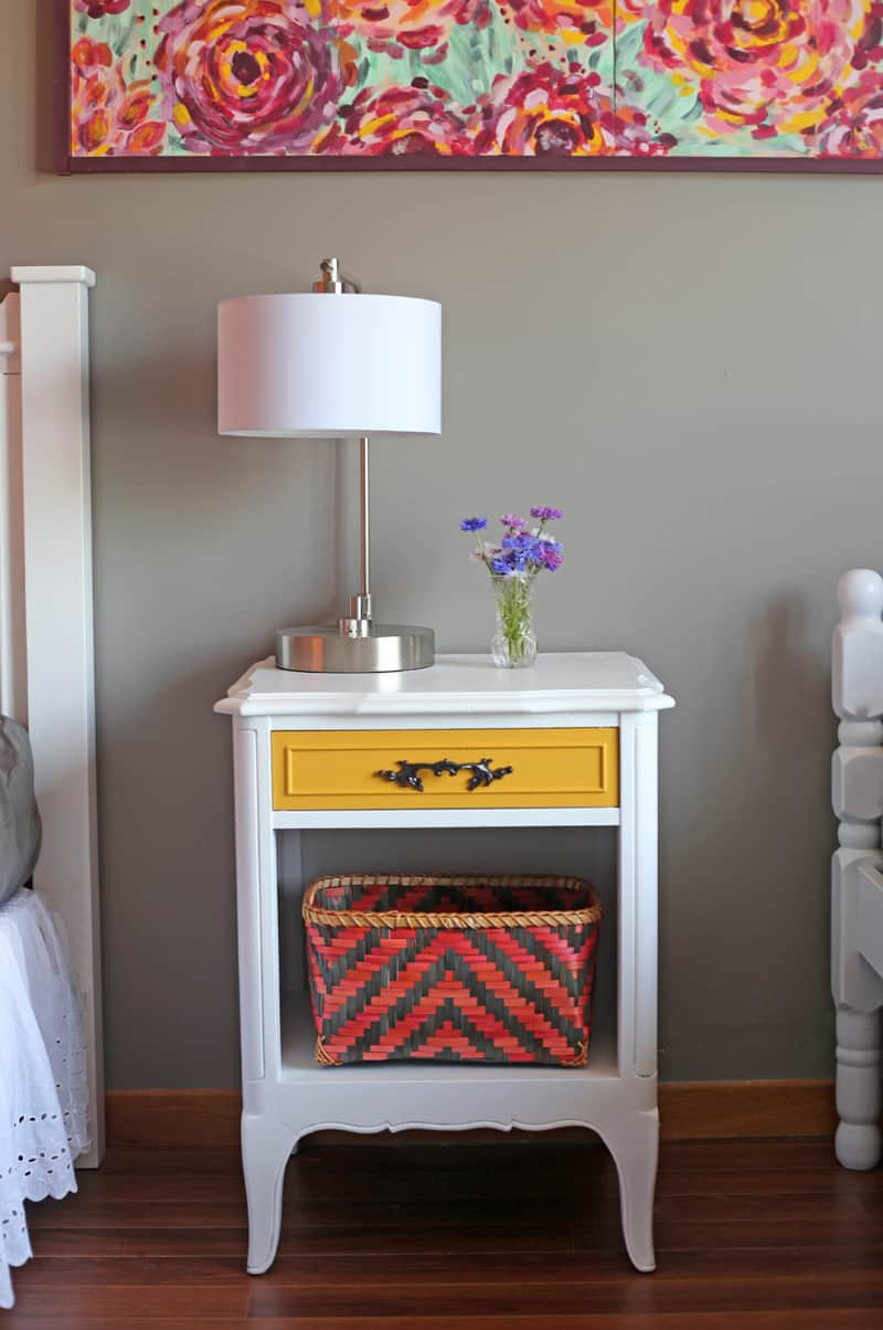 Painted vintage nightstands with PPG Voice of Color Va Va Voom