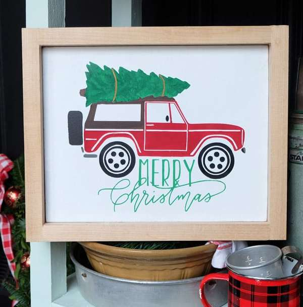 Christmas Bronco and Camper Van Silhouette Cut File