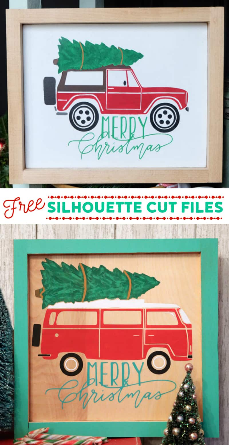 Free Christmas Bronco and Camper Van Silhouette Cut Files from fynesdesigns.com