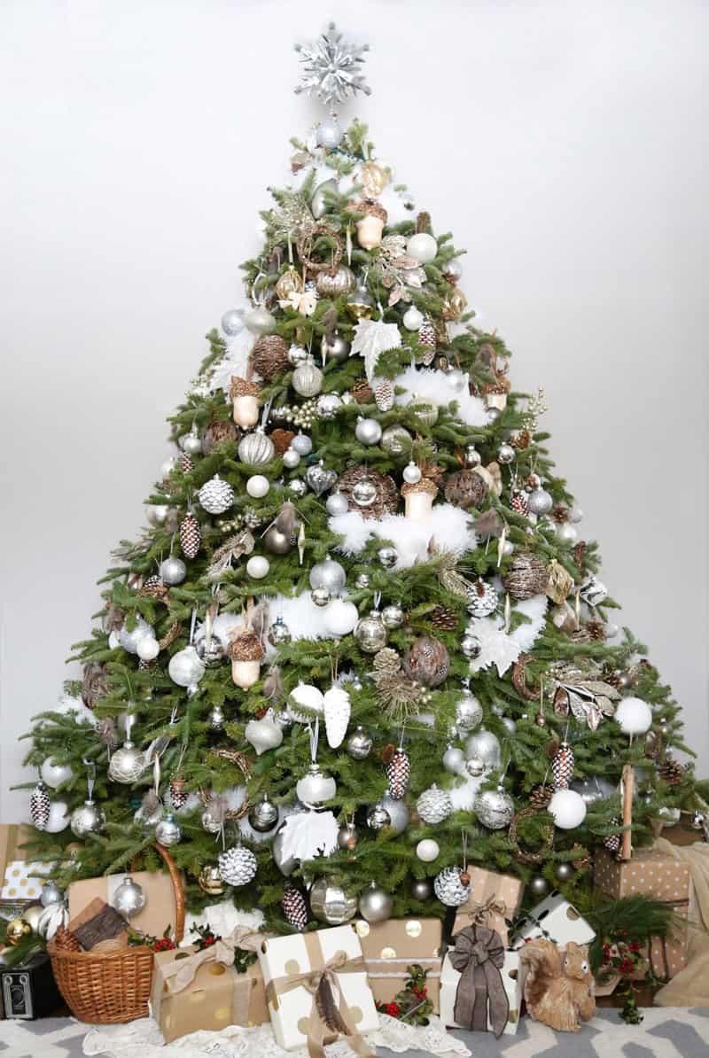 2016 Fynes Designs Christmas Decorations. White and brown Nature themed tree