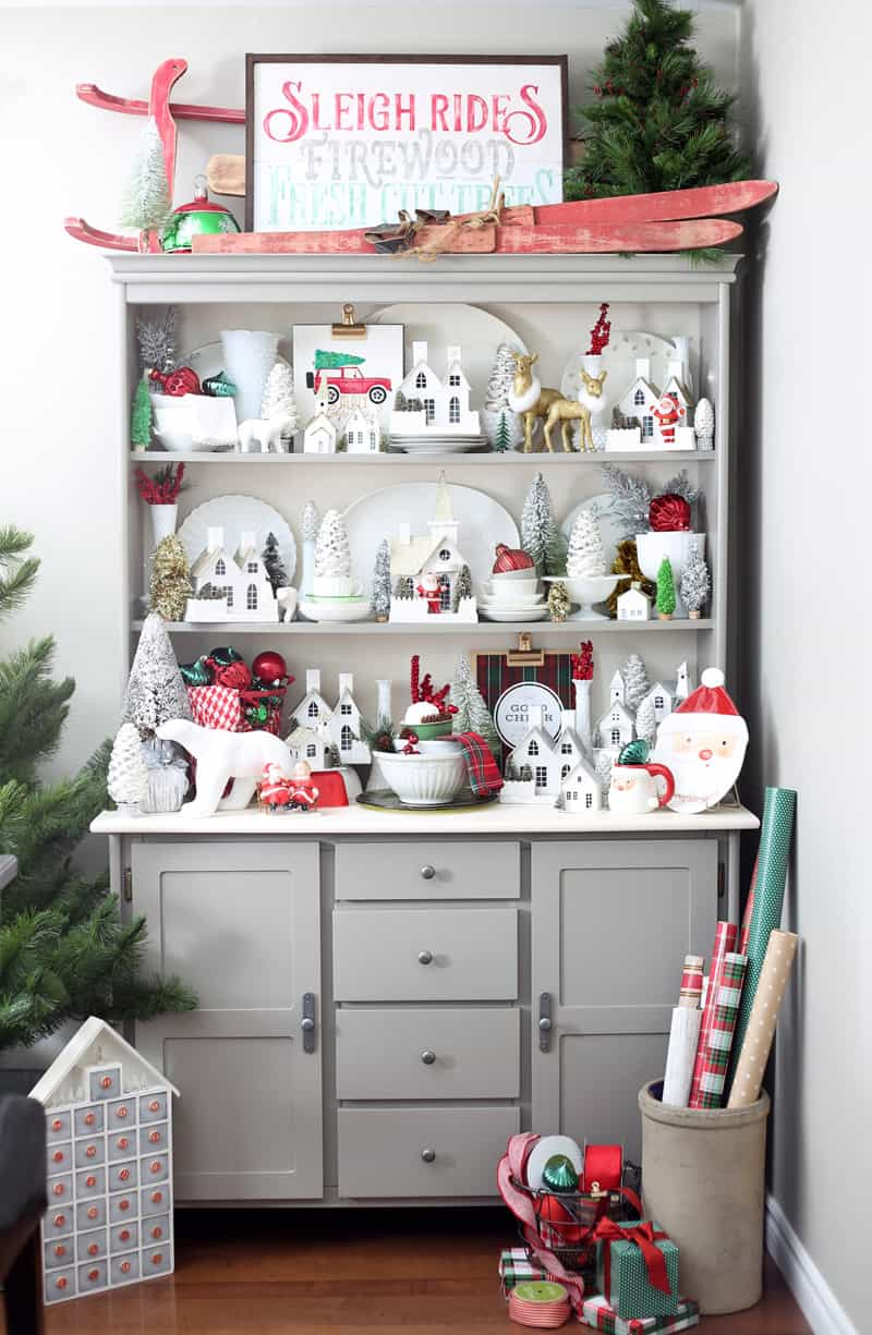 Red and Green Christmas kitchen hutch