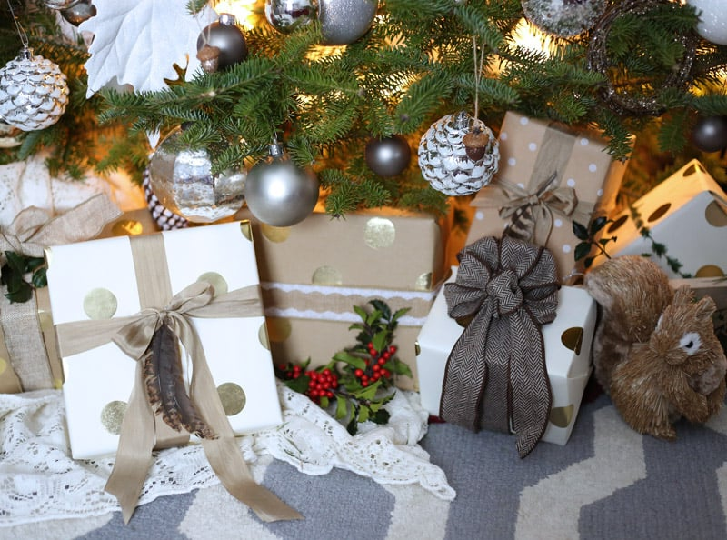 Natural and gold themed christmas gift wrapping