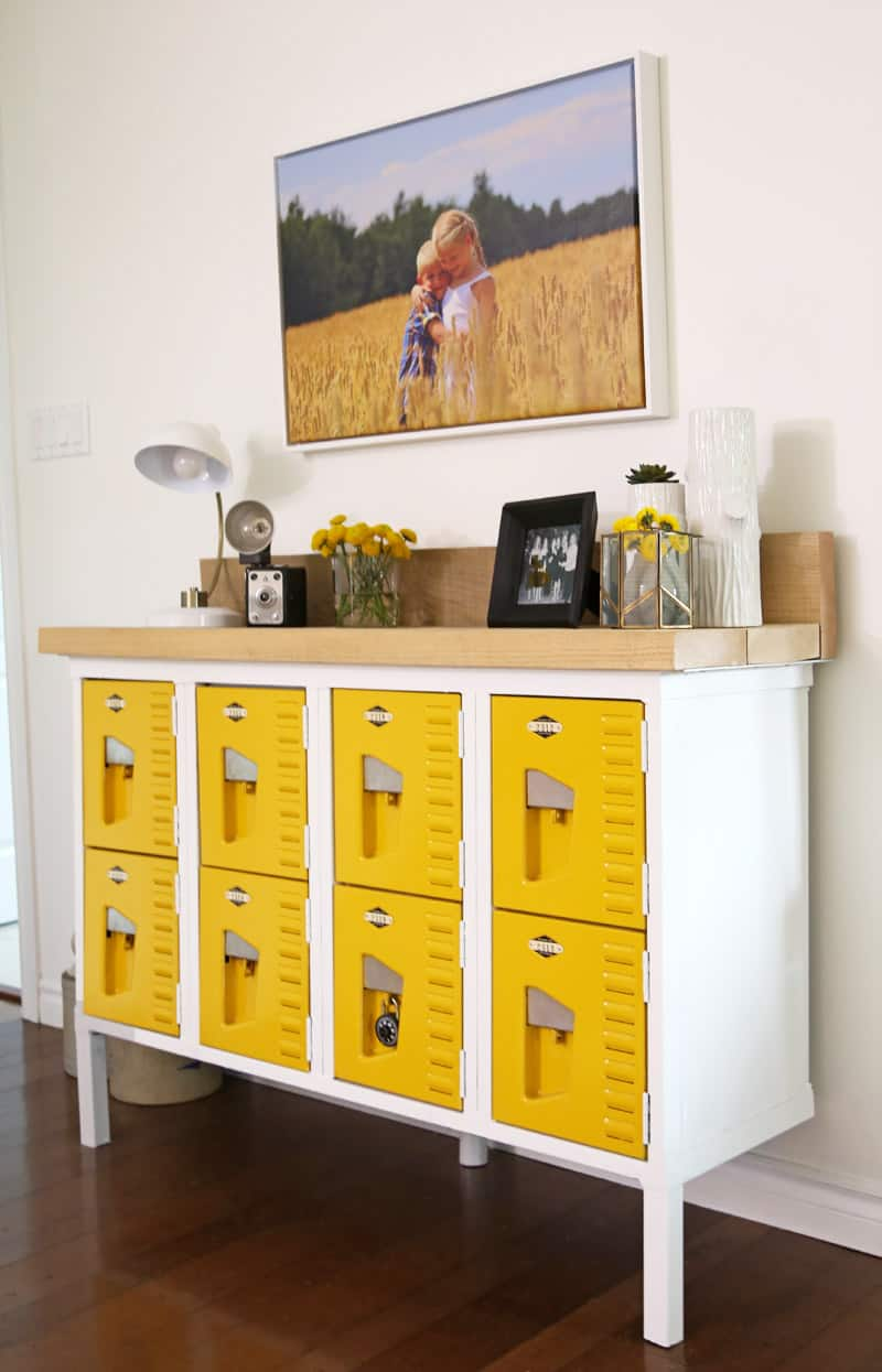Vintage locker entryway table