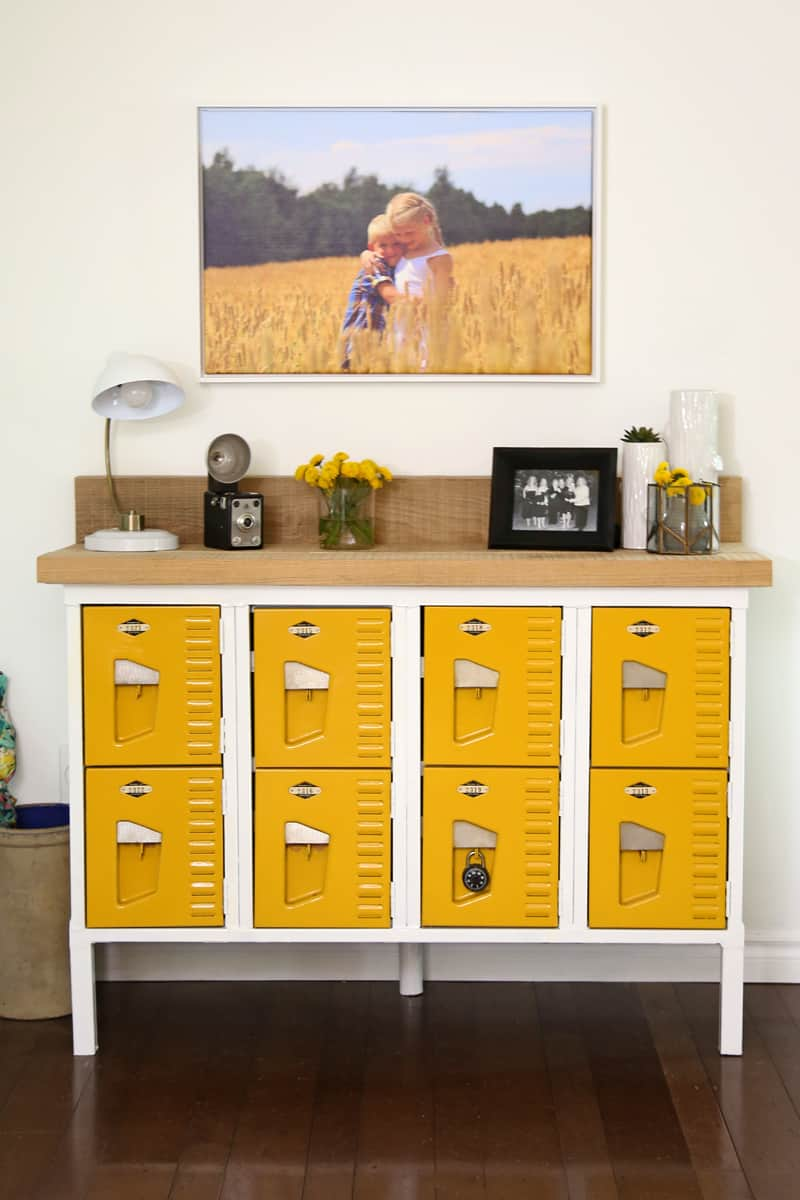 Beautiful Vintage Locker Console Table