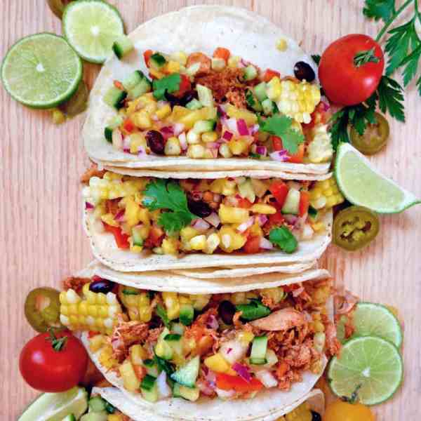 Weight Watchers Chicken Tacos Recipe featured by top US life and style blog, Fynes Designs | Weight Watchers pulled chicken tacos with fresh mango pineapple salsa