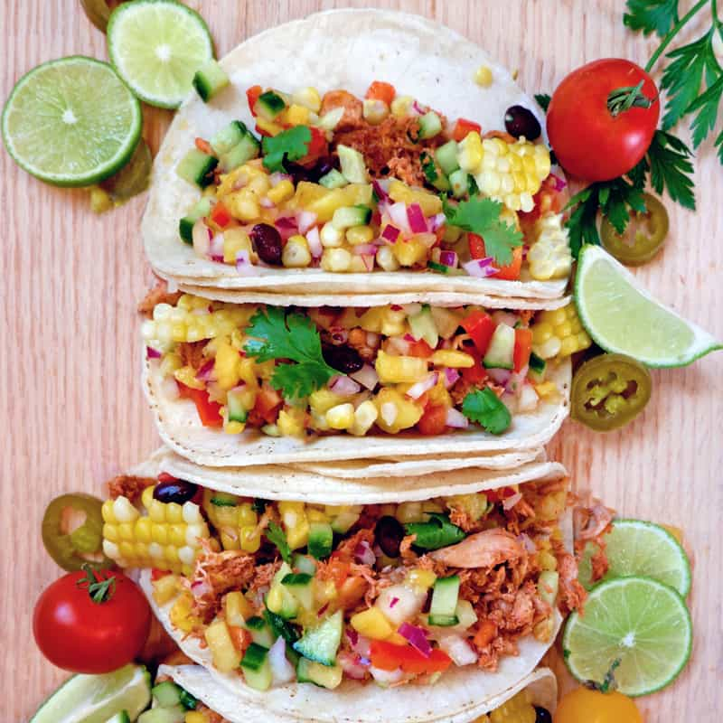 Weight Watchers pulled chicken tacos with fresh mango pineapple salsa