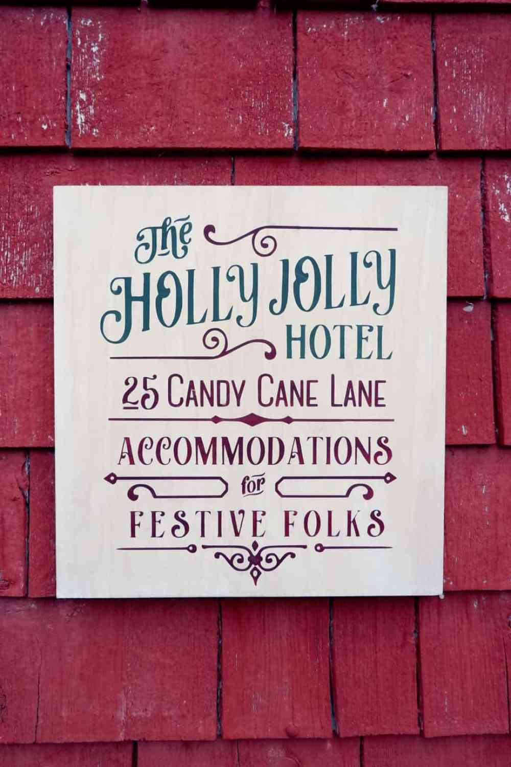 Holly Jolly Hotel Christmas painted signs SVG, Silhouette, and Cricut Cut files