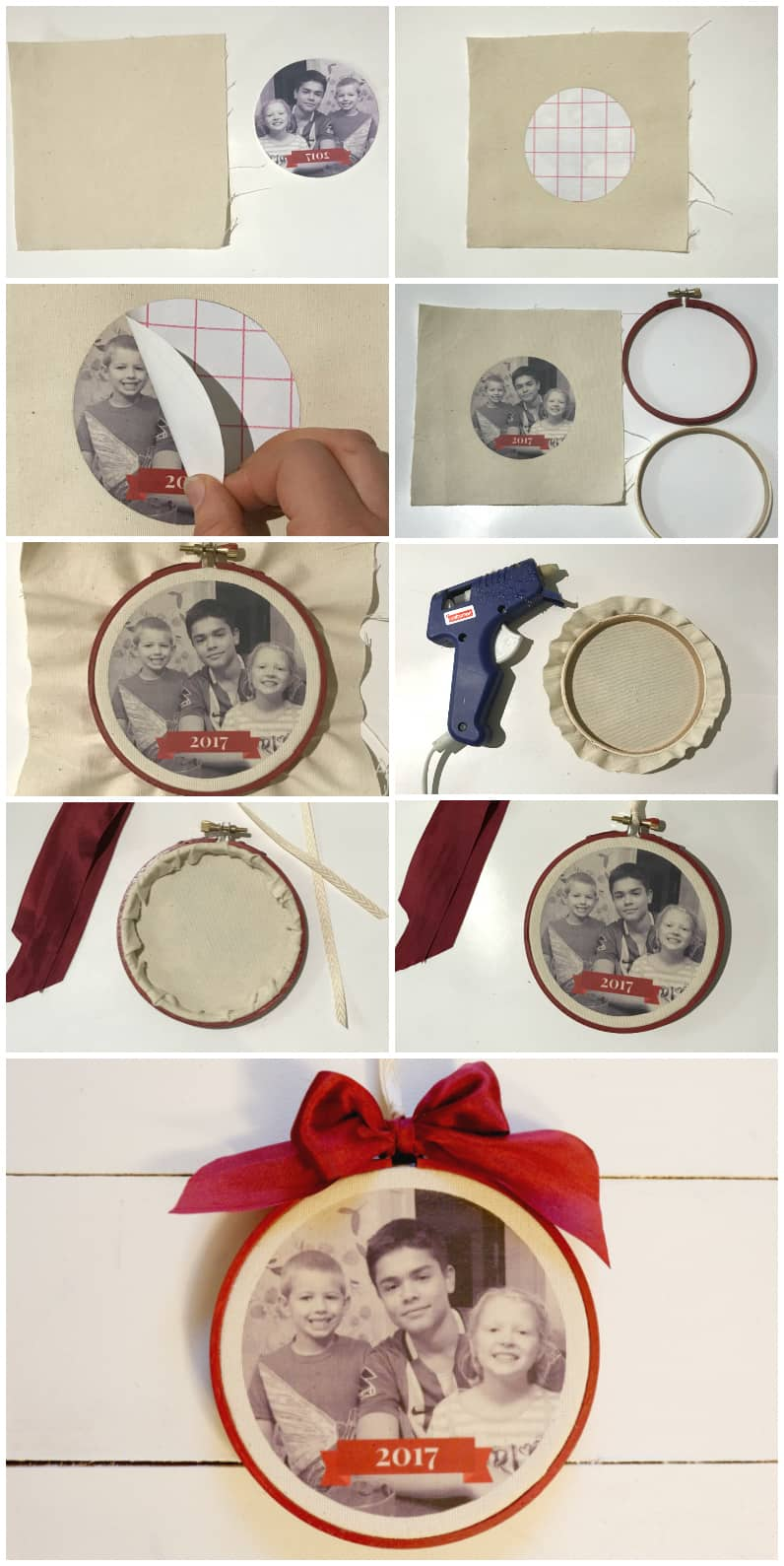 Tutorial to create Easy DIY iron on Christmas Photo Ornaments. Step by step instructions.