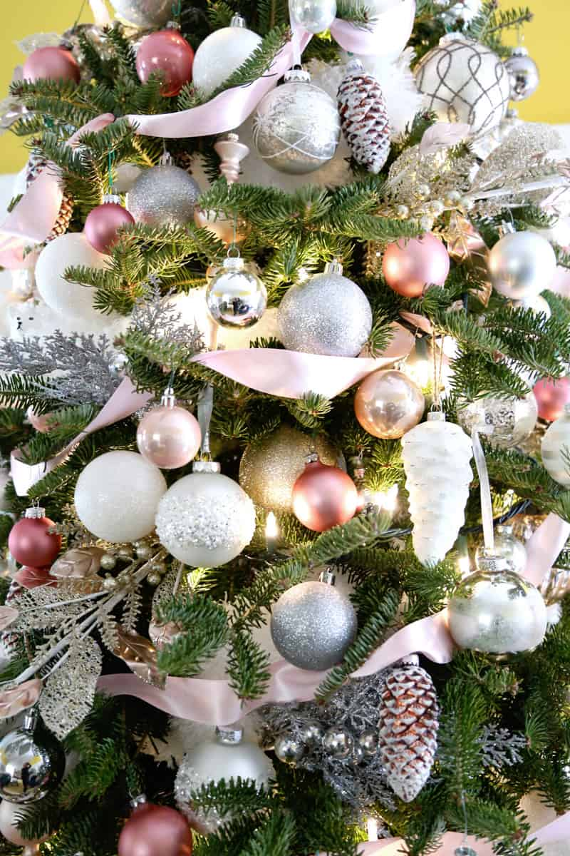 Christmas Tree Decorations in pink, white and silver