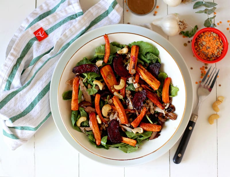 Next Day Roasted Carrot and Beet Salad with Black Garlic creamy Dressing