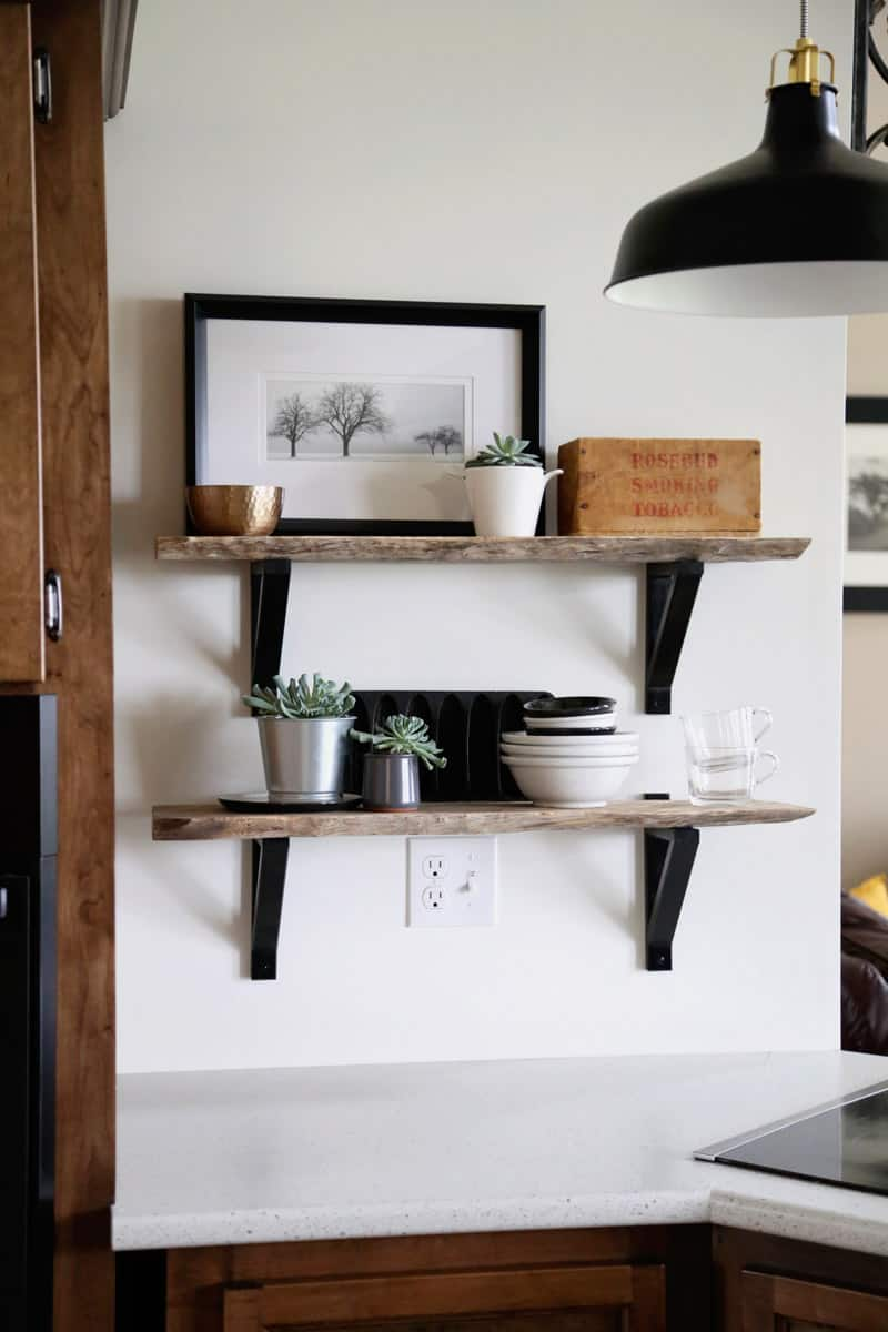 IKEA Hack-Custom live edge shelves using EKBY VALTER brackets