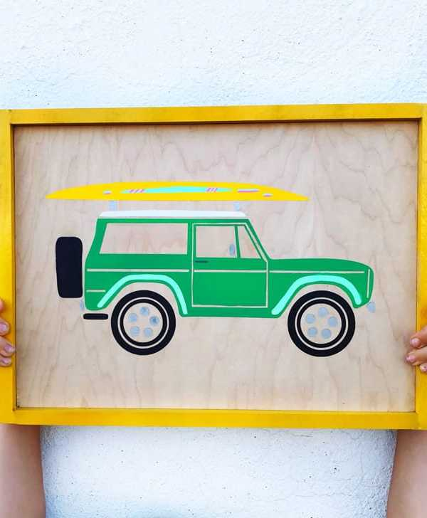 Surfboard Bronco and VW Van FREE Cut File