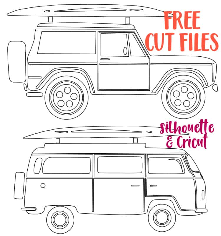 FREE Silhouette and Cricut cut files of a surfboard Bronco and VW Camper Van
