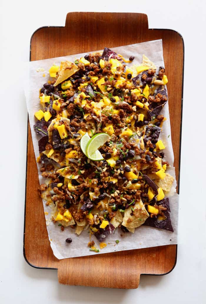 Mango Peanut and Black Bean nachos