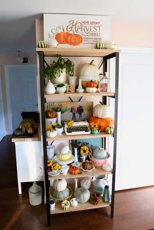 Decorated modern farmhouse kitchen decor for fall