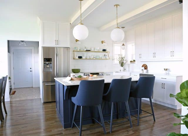 Modern glam farmhouse white and navy kitchen