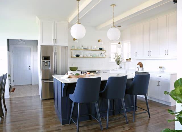 Modern glam farmhouse white and navy kitchen
