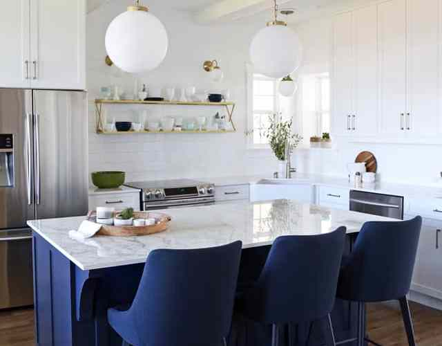 Glam Farmhouse kitchen reveal with Dekton countertop and Jeffery Court Tile