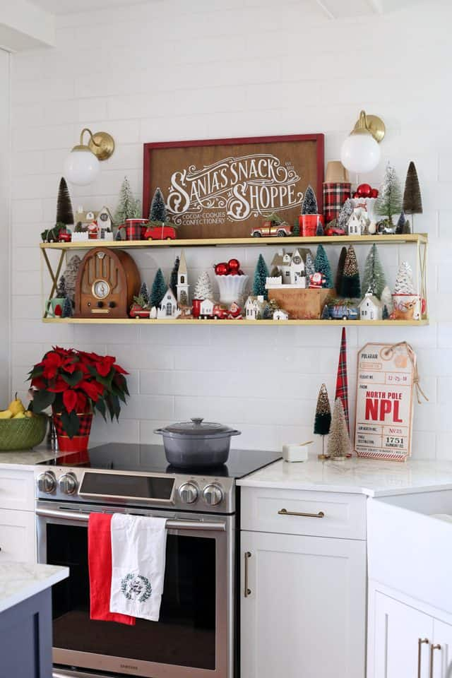 Christmas kitchen vintage vignette with hand painted wood signs