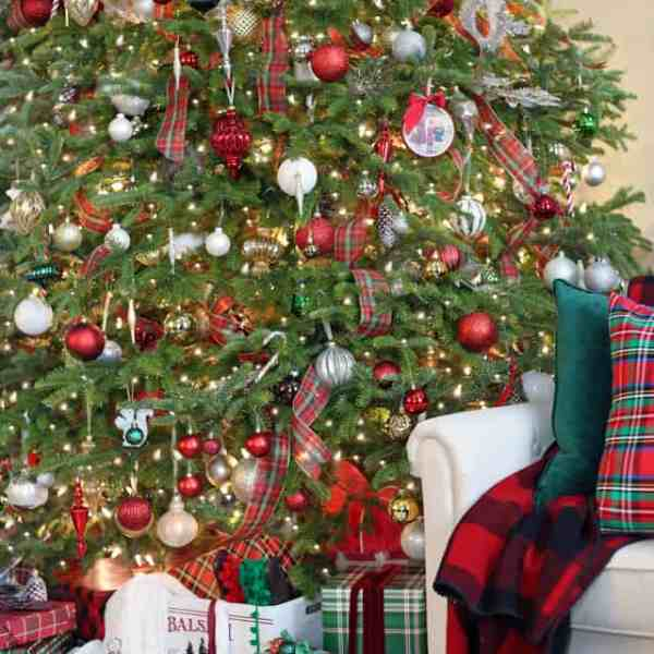Red and green plaid Christmas Tree