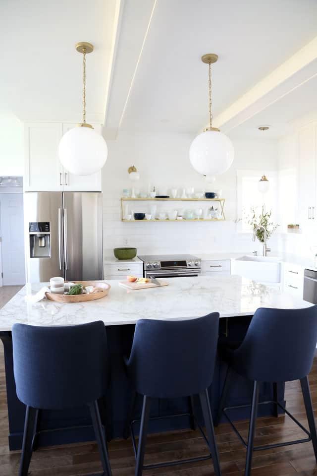 Navy blue and white modern farmhouse kitchen
