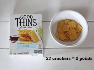 Low Point Weight Watchers snacks under 3 points featured by top US life and style blog, Fynes Designs: Good Thins Sea Salt Crackers |Weight Watchers Snacks by popular Canada lifestyle blog, Fynes Designs: image of Good Thins sea salt crackers.