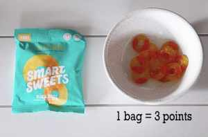 Smart sweets- weight watchers snack |Weight Watchers Snacks by popular Canada lifestyle blog, Fynes Designs: image of a bag of Smart Sweets peach rings.