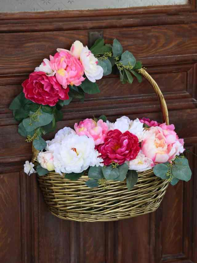 How to create a beautiful Flower Basket full of peonies with dollar store items.