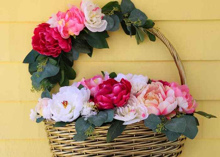 Basket of peonies to hang on your front door
