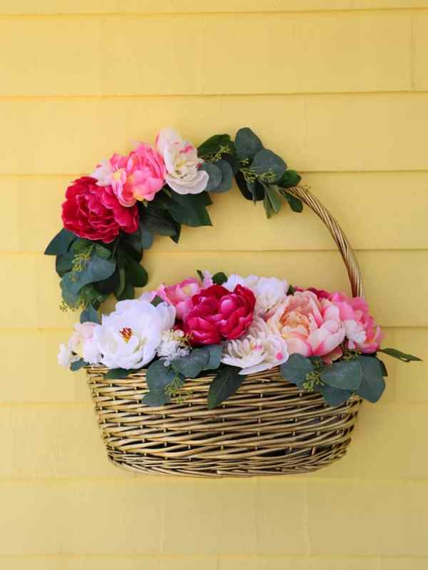 Learn how to make a Basket of peonies to hang on your front door