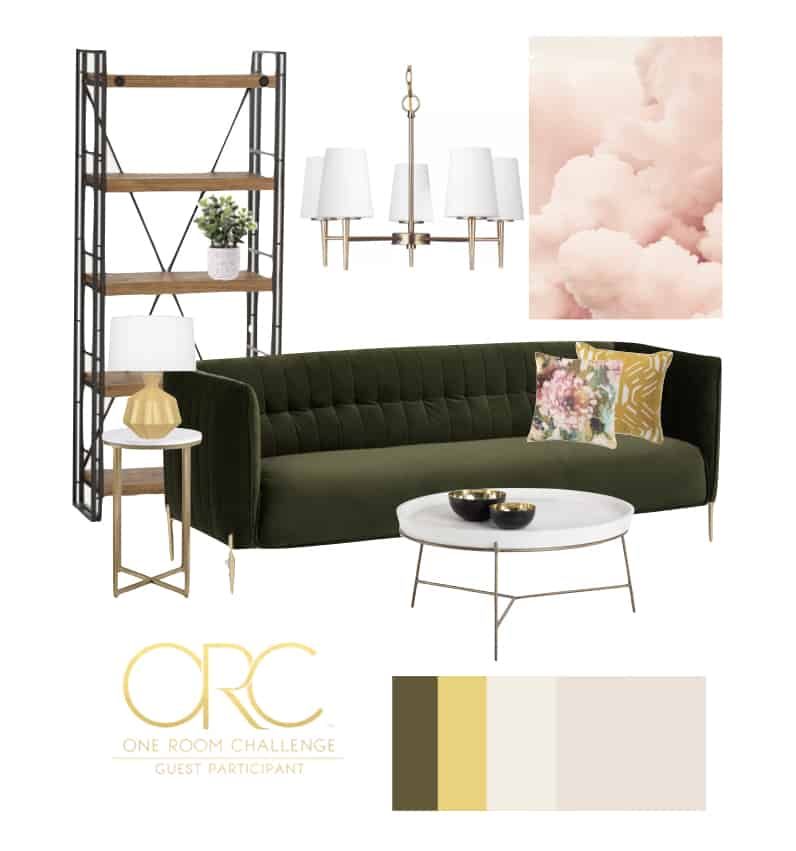 Pretty farmhouse sitting room inspiration. An eclectic mix of mid century modern and natural elements mixed with soft pastels with a punch of color
