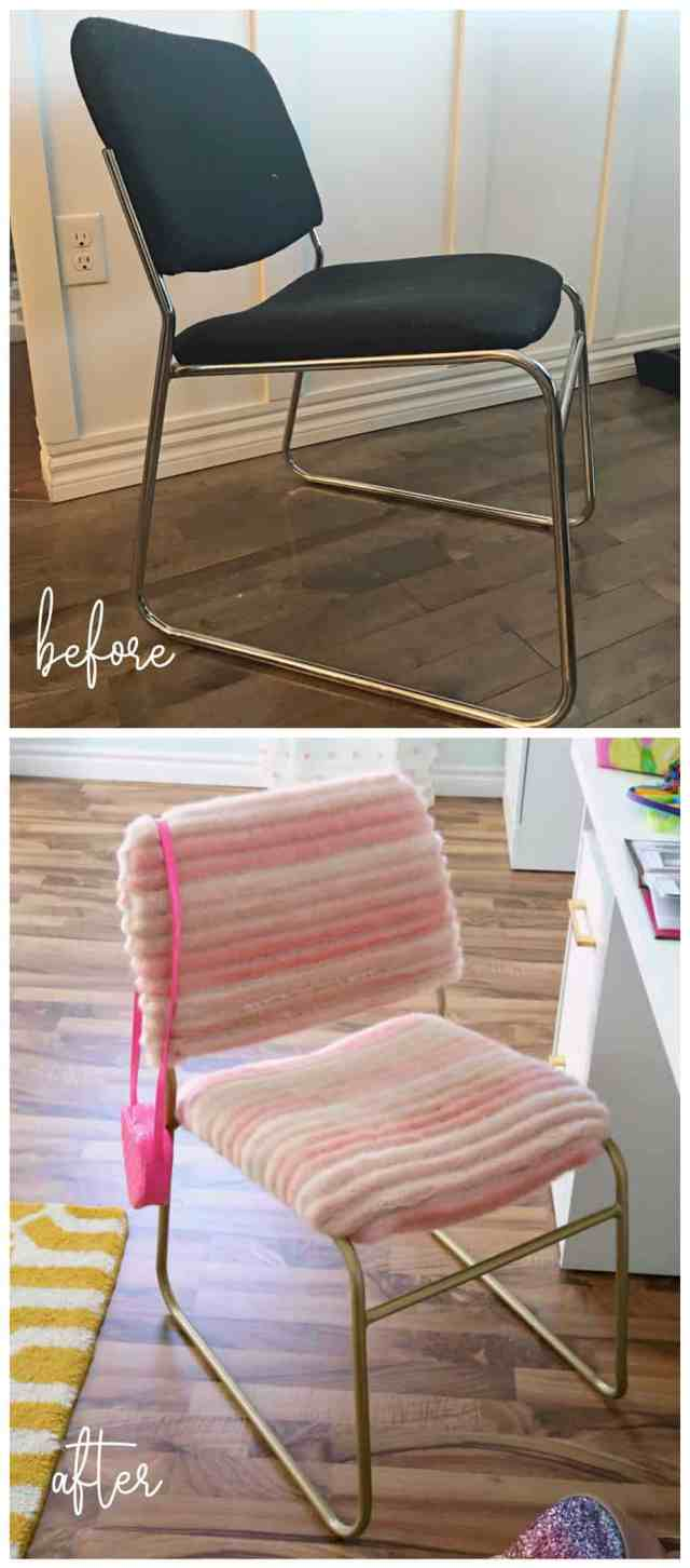 Top 10 Cheap Bedroom Decoration Ideas for Girls featured by top US DIY and interior design blog, Fynes Designs: Reupholster an old desk chair with funky fabric for a teen bedroom