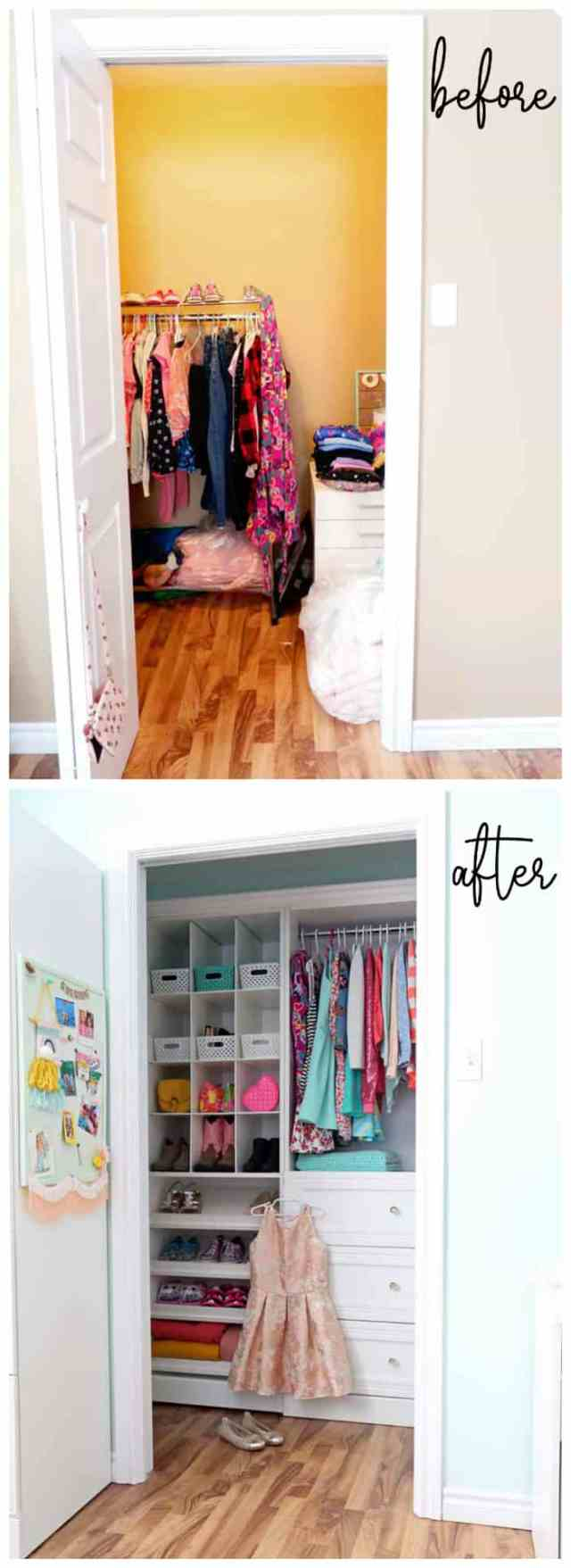girl walk in closet makeover