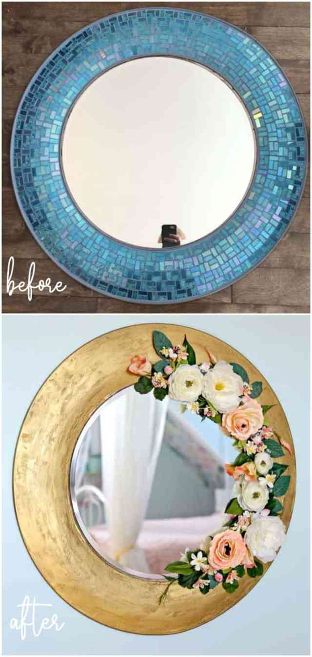 Top 10 Cheap Bedroom Decoration Ideas for Girls featured by top US DIY and interior design blog, Fynes Designs: Use filler to cover over an old mirror to give it a complete makeover