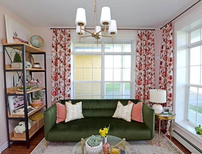 Colorful Modern Living Room Design featured by top US design blog, Fynes Designs: image of olive green sofa and floral drapes