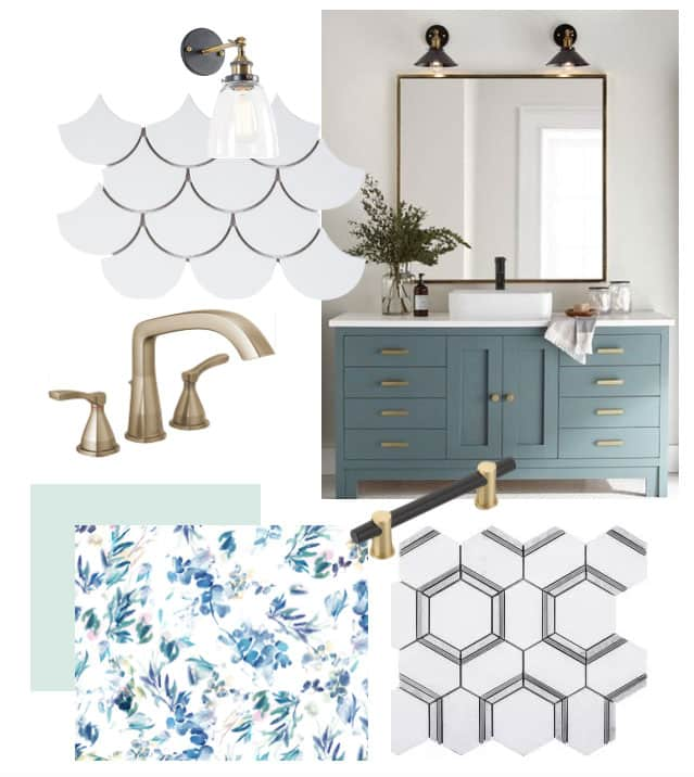 Bathroom Makeover Ideas and Inspiration by popular Virginia life and style blog, Fynes Designs: collage image of STRYKE™ Widespread Faucet, Jeffrey Court Allegro White Fan 8.75 in. x 13 in. x 8 mm Ceramic Mosaic Tile, floral wallpaper, Jeffry Court Locket 12 in. x 10.5 in. x 10 mm Natural Stone Mosaic Tile, and blue vanity.